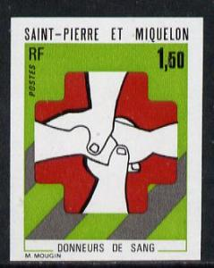 St Pierre & Miquelon 1974 Blood Donors imperf proof i...