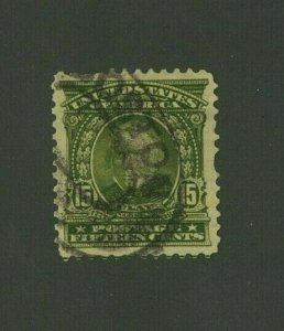 US 1903 15c olive green Clay, Scott 309 used, Value = $12.50