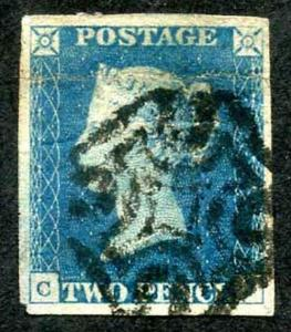 1840 2d Blue (crease and a thin) black cross