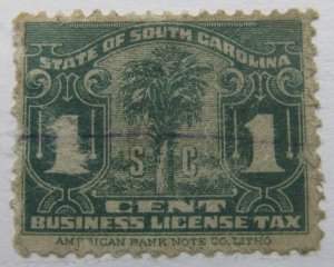 US Revenue State of Carolina License Tax 1c used A4P53F48