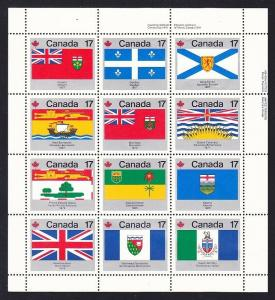 Canada 832a MNH OG 1979 Provincial and Territorial Flags Pane of 12 Very Fine