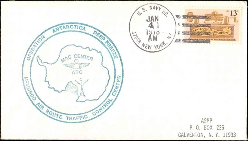 1978 US NAVY NEW YORK ANTARCTIC CACHET FOR TRAFFIC CONTROL CENTER