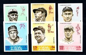 [93904] Ajman 1969 Sport Baseball Babe Ruth Joe Dimaggio Imperf. MNH