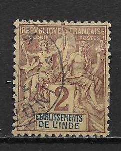 French India 2 1892-1907 2c Navigation and Commerece sing...