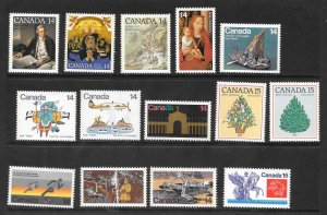 Canada Mint NH Lot of 25 Different Assorted Values stamps  Face Value $4.36
