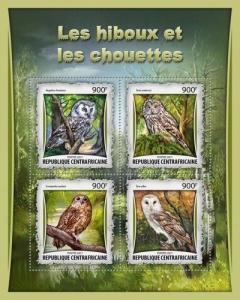 Z08 CA17011a CENTRAL AFRICAN REP 2017 Owls MNH ** Postfrisch