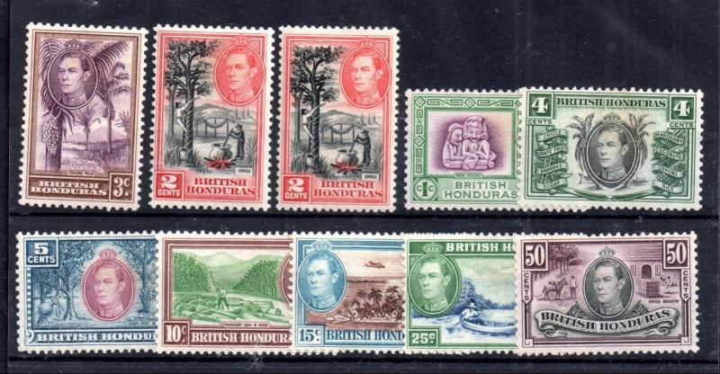 British Honduras KGVI 1938 mint VLHM set to 50 SG150-158 WS11932
