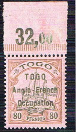 TOGO ANGLO FRENCH OCCUPATION 80pf SG H9 WITH BPA CERT