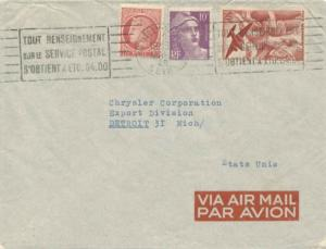 France 50F Iris Air with 1F Ceres and 10F Marianne Gandon 1949 Neuilly-sur-Se...