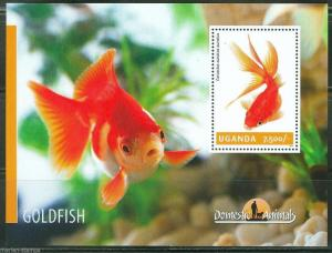UGANDA 2014 DOMESTIC ANIMALS  GOLDFISH  SOUVENIR SHEET  MINT NH