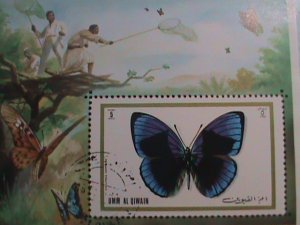 UMM AL QIWAIN: COLORFUL BEAUTIFUL LOVELY BUTTERFLY CTO NH S/S