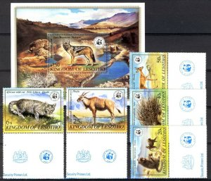 Lesotho 1982, Wild animals WWF full set incl S/S MNH
