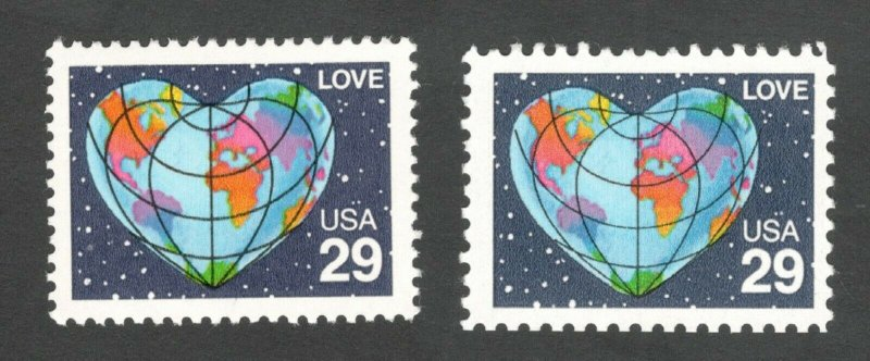 2535 & 2535a Love US Set Of 2 Mint/nh Free Shipping (A-323)