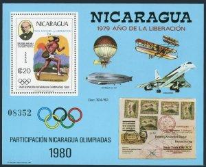 Nicaragua Mi 2105 Bl.111,MNH. Year of Liberation,Rowland Hill,Olympics-1980.