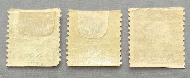 Franklin, Harding, Washington Singles 597-599 MH vert.coil