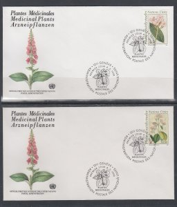 UN Geneva 186-187 Medicinal Plants UN Postal Administration U/A Set of Two FDC