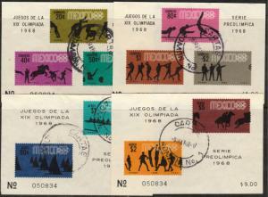MEXICO 992a,995a,C336a,C338a, Souvenir Sheet SET 4th Pre-Olympic Set USED (274)