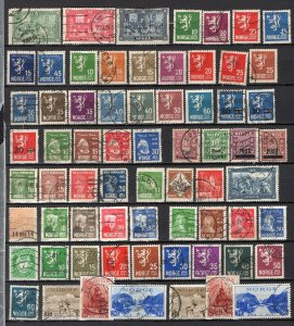 Norway 1914-47 Selection 107 Used Stamps Including Sets + Better CV$235