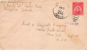 Philippines, 2c McKinley used on 1920 Cover Sent from Tarlac, P.I. to New York
