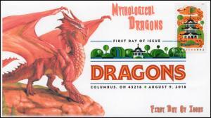 18-172, 2018, Dragons, First Day Cover, Digital Color Postmark, Orange Dragon