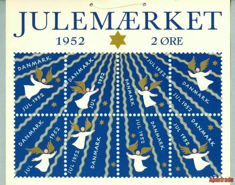 Denmark. 1 Post Office,Display,Advertising Sign.Angels,Star. Christmas Seal 1952