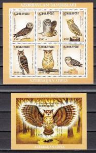 Azerbaijan, Scott cat. 724-725. Owls sheet of 6 and s/sheet. ^