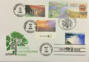 Hideaki Nakano Lithuanian State Parks Stamps with US Grand Canyon Niagara Falls