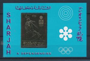 [44961] Sharjah 1971 Olympic games Sapporo Skiing Gold colored MNH Sheet