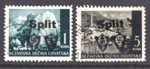 CROATIA 1945 LOCAL SPLIT OVERPRINTS CDS F/VF SOUND x2