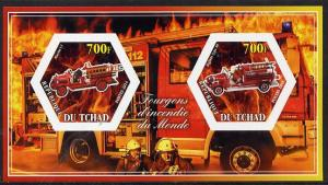 Chad 2014 Fire Engines #1 imperf sheetlet containing two ...
