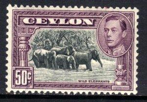 Ceylon 1938 - 49 KGV1 50ct Black & Mauve MM SG 394d ( A7 )