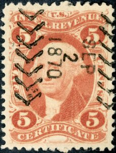 #R24 – 1862-71 5c red, certif, old paper. Used. Cut Cancel.