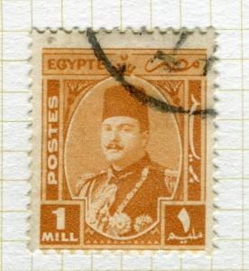 EGYPT;  1944-51 early King Farouk issue fine used 1m. value