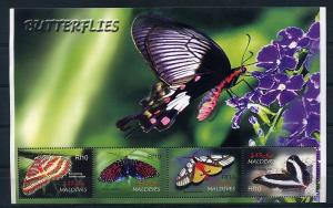 Maldives MNH S/S Butterflies Insects 4 Stamps
