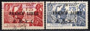 Saint Pierre And Miquelon  #256-7 F-VF Used CV $49.00  (P691)