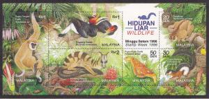 Malaysia # 604, Wildlife Souvenir Sheet, NH, 1/2Cat.