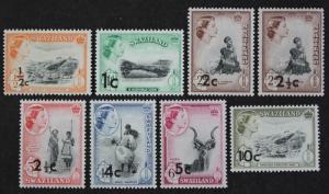 Swaziland Short Set Of 8, 1961 QEII - Issue of 1955-1956 surcharge opt MNH OG