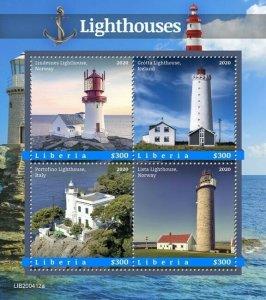 2020/10- LIBERIA - LIGHTHOUSES       4V    MNH **