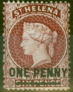 St Helena 1876 1d Lake SG21 Type B P.14 x 12.5 Fine Very Lightly Mtd Mint