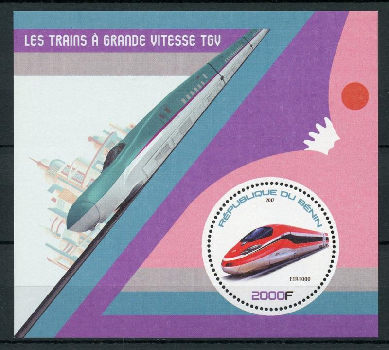 Benin 2017 MNH TGV High-Speed Trains ETR1000 1v S/S Rail Stamps
