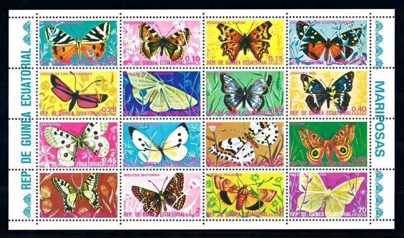 [71238] Equatorial Guinea 1975 Insects Butterflies Full Sheet MNH