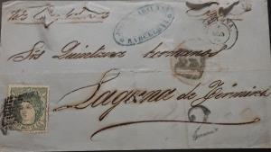 O -B) 1872 SPAIN, ESPAÑA SCT 169 400m green - DUKE DE LA TORRE REGENCY -