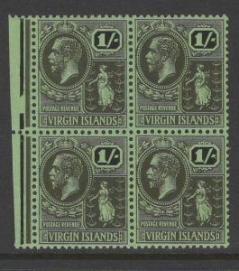 VIRGIN ISLANDS SG99 1928 1/- BLACK/EMERALD MNH BLOCK OF 4