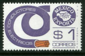 MEXICO Exporta 1115 $1P Electr Conductors Fluor Paper 6 MNH. VF.