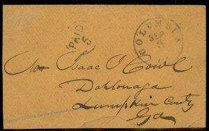 CSA Columbus GA Civil War Confederate Stampless Cover 92694