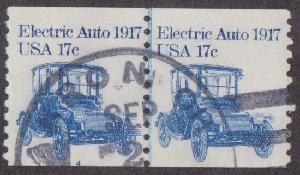 US #1906 Electric Auto Used PNC Line Pair plate #4