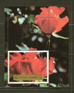 Fujeira Red Flower Airmail Souvenir Sheet Mint Hinged