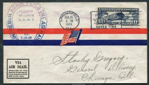 POSTAL COVER - Air Mail #C10 Springfield IL to Chicago IL US Flag 1928 - S7919