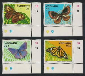 Vanuatu Butterflies 4v Corners SG#564-567 SC#532-535