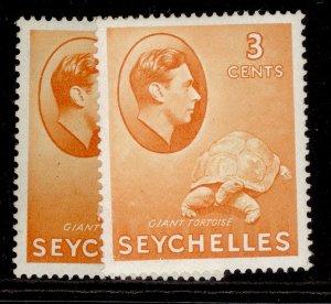 SEYCHELLES GVI SG136a + 136ab, 3c PAPER VARIETIES, M MINT.